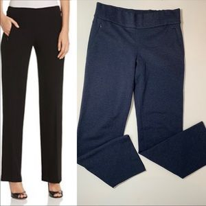 Elie Tahari Navy Knit Straight Leg Pants S